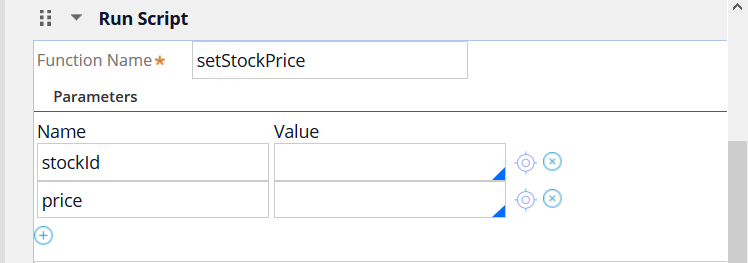 The dialog box when setstockprice is added to the Function                                         Name field