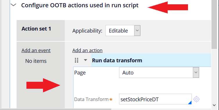The dialog box when the Configure OOTB actions used in run                                         Script checkbox is selected