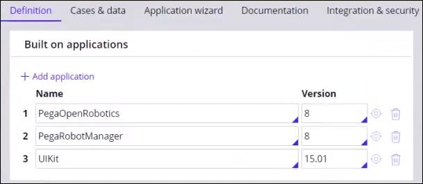 PegaOpenRobotics application configuration.