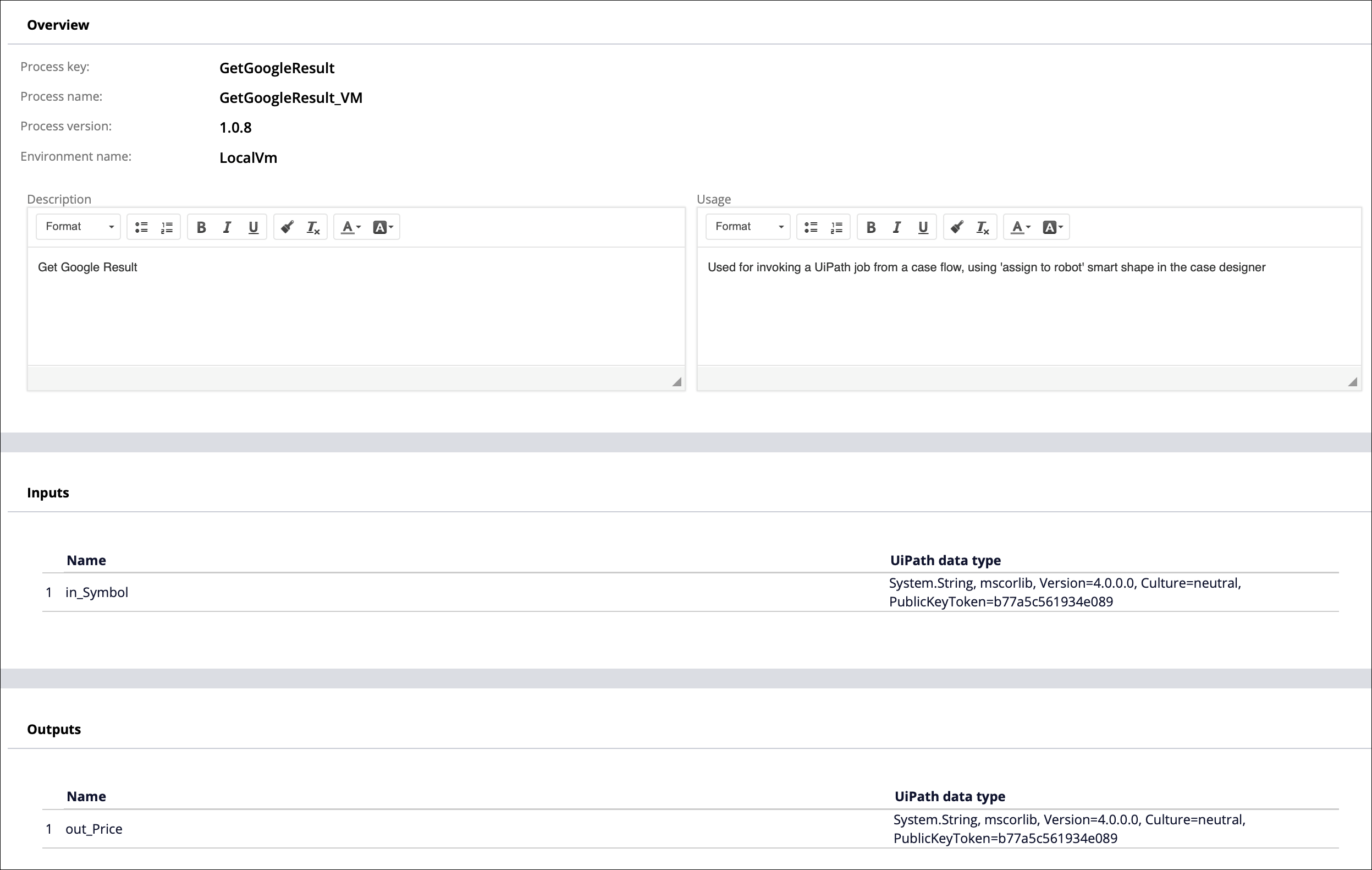 The Connect-Robot-UiPath rule form that displays the inputs and                         outputs.