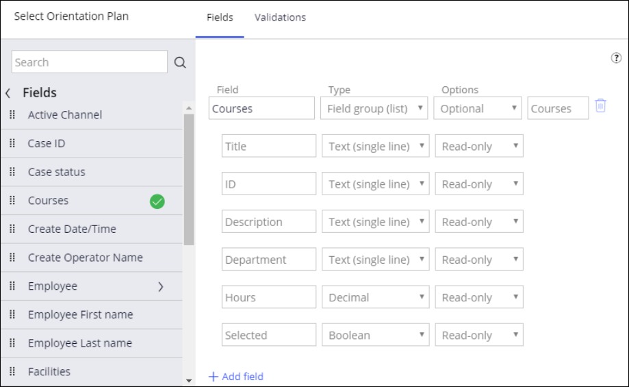 Relevant records in the Fields list for a user view of a step