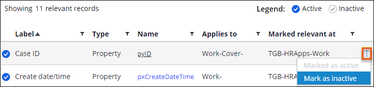 The Relevant Records tab showing the actions icon with the                                         selected Mark as inactive option