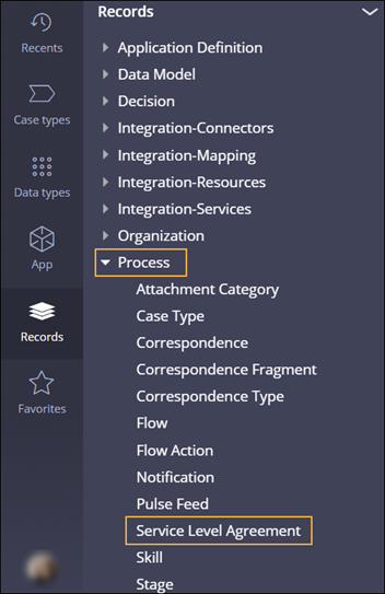 Navigation to a service-level agreement record in Dev Studio.