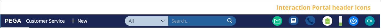 Interaction Portal header icons that can be shown or hidden