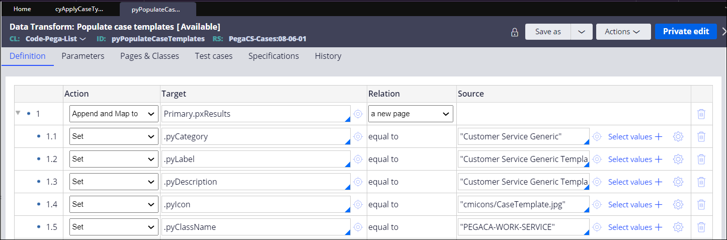 Append and Map to action for the Customer Service Generic                                 Template