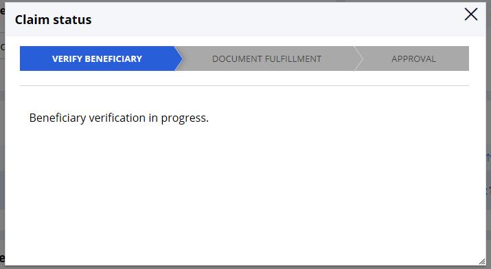 Claim status window displaying case status