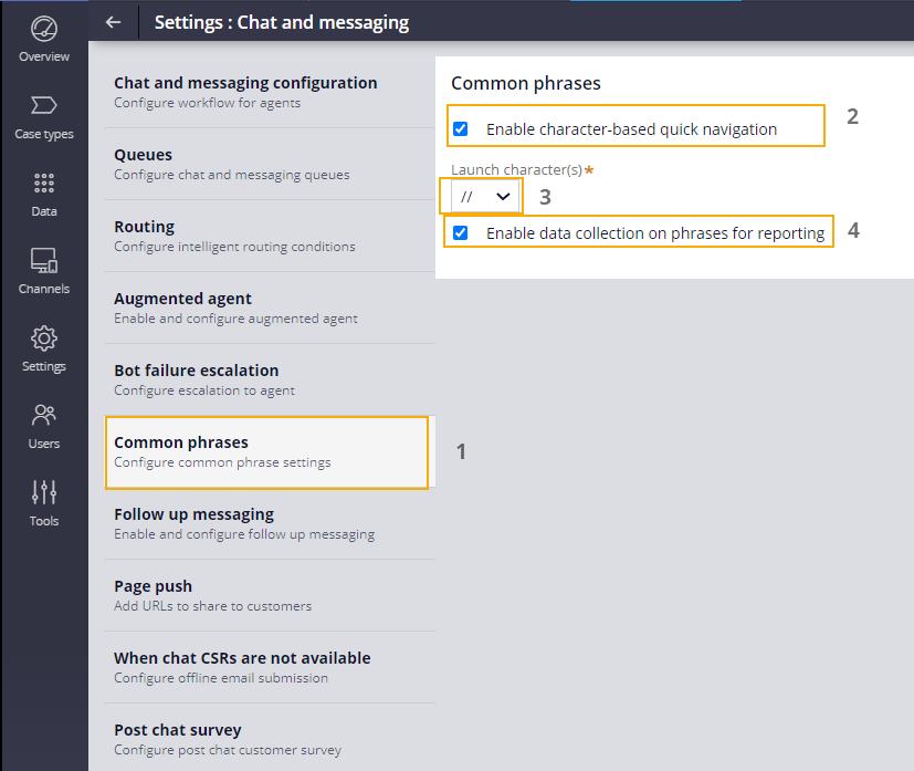 Enabling common phrase settings