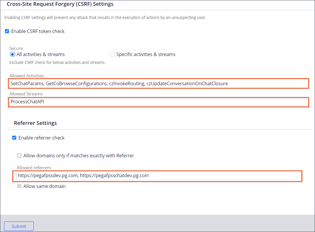 CSRF Settings displaying the allowed activities, streams,                                         and referrer URLs