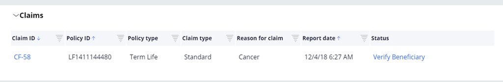 Example list of customer claims in the Policy composite
