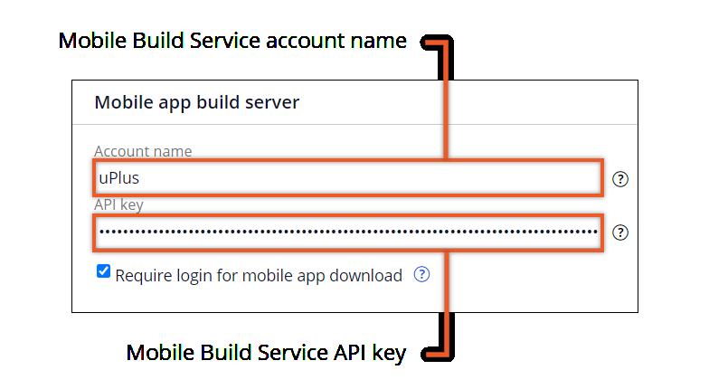 Sample mobile build server configuration settings in Admin Studio.