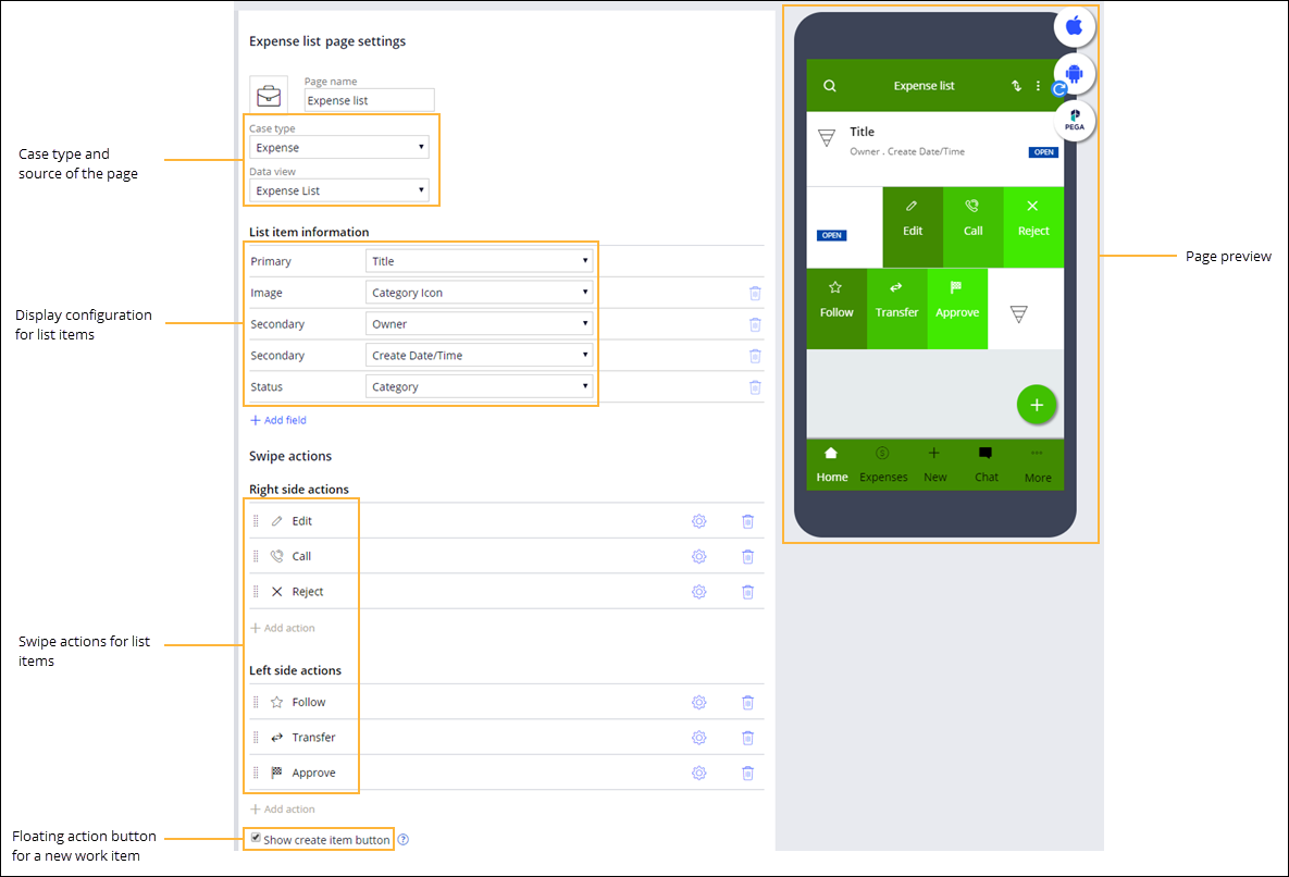 Configuration of the source, display of list items, swipe actions,                                 and a floating action button for a mobile list page.