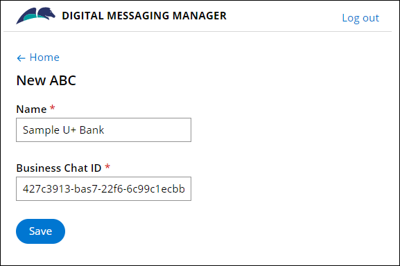 The configuration settings on the Digital Messaging Manager page for a new IVA for                                 Apple Business Chat.
