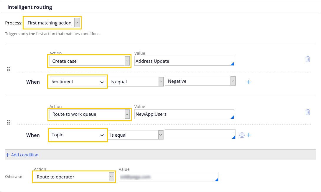 The Intelligent routing section of the Email channel behavior tab,                                 configured for a first matching action