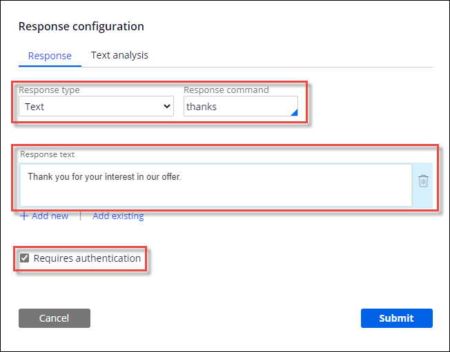 The Response configuration window that defines a response command and                         requires authentication for an IVA.