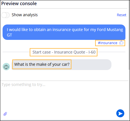 Sample request for a car insurance quote showing the detected topic                                 and Like icon