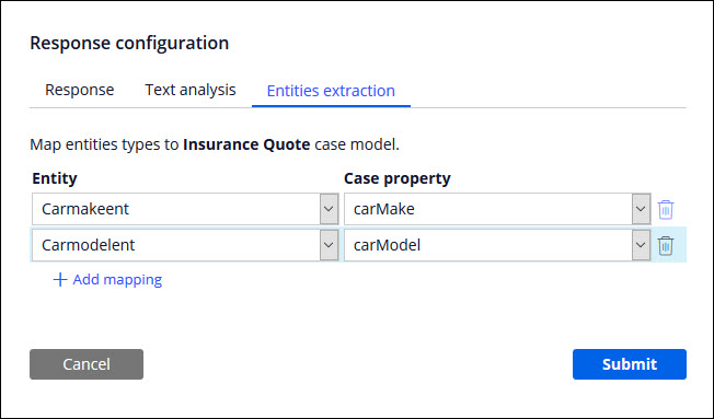 The Response configuration dialog box for case type                                         commands