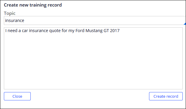Creating another sample training record using specific car model                                 and make details.