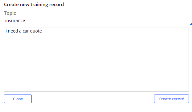Entering new sample user input to the training record.