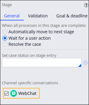 Configuring a stage for the Insurance Quote case type to use the                                 IVA for Web Chatbot.