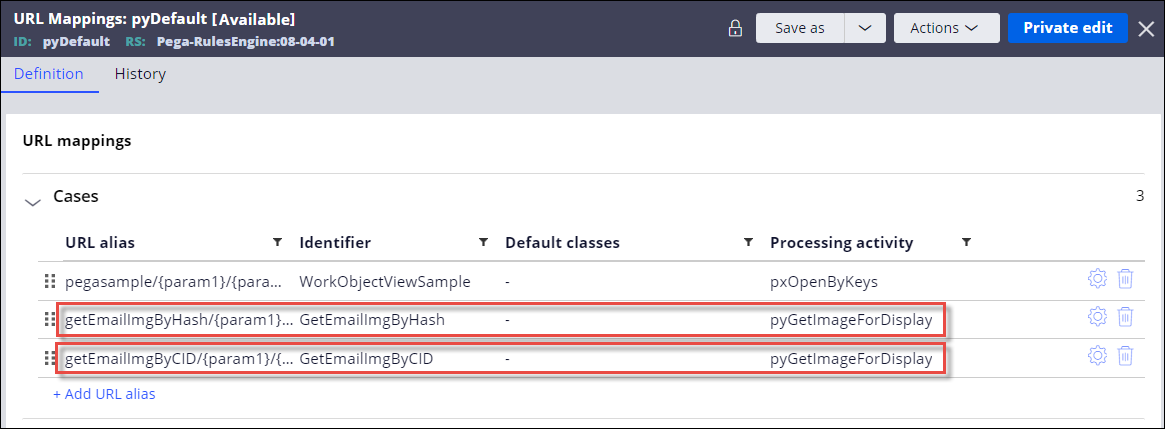 New definitions in the pyDefault URL mappings rule in the Cases                         section