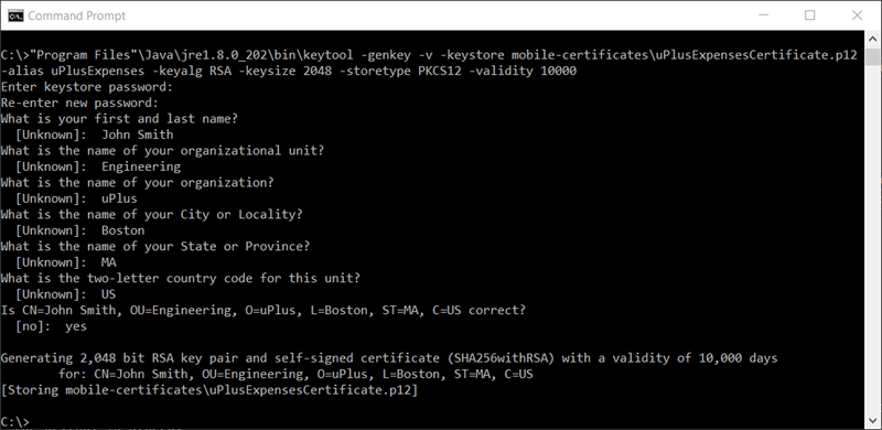 Terminal commands in Windows Command Prompt that create a P12                             certificate file for mobile use.