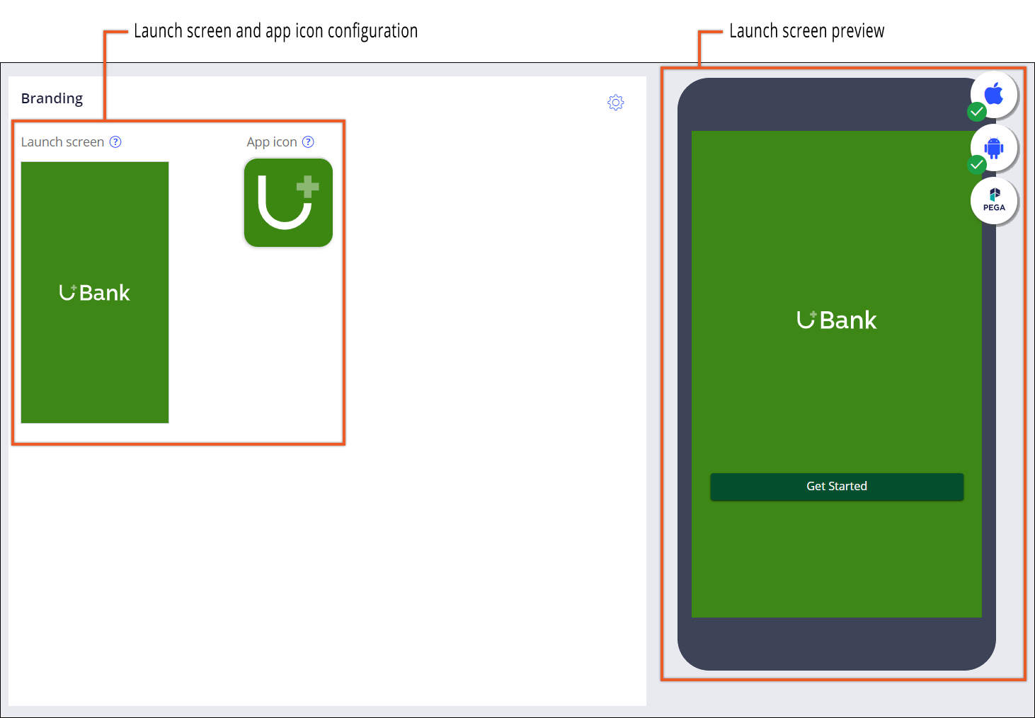 Configuring a custom launch screen and icon for a mobile app with the help of the                 live preview.
