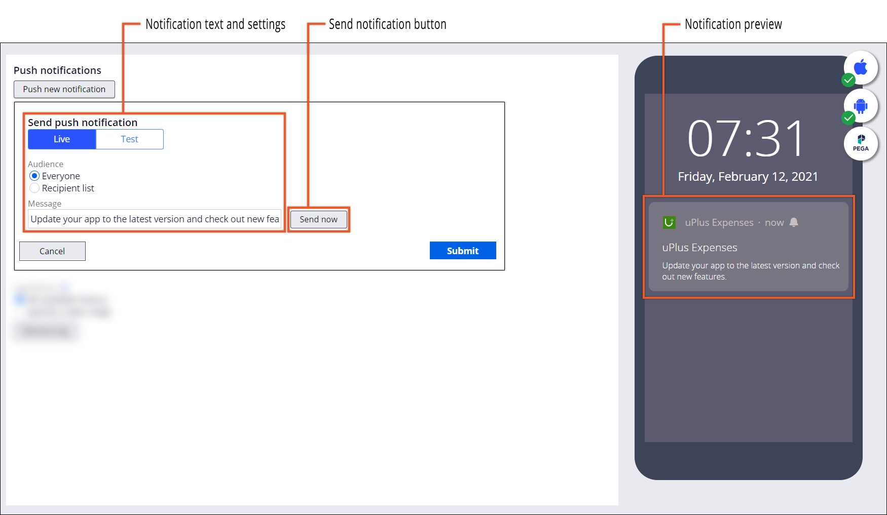Push console with a message configuration and a live preview of the push               notification