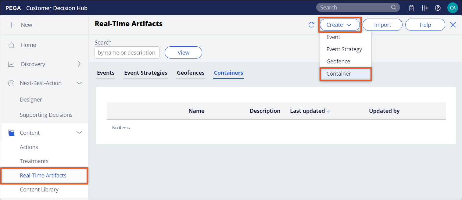 Real-time artifacts view showing the Containers landing page and the Create option with           the Container selected.
