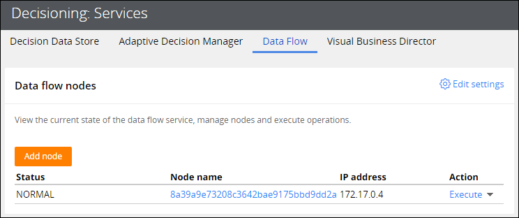 The list contains a single node. The status of the node is                                         normal.
