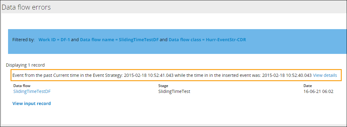 A report showing errors for a data flow run shows one error.