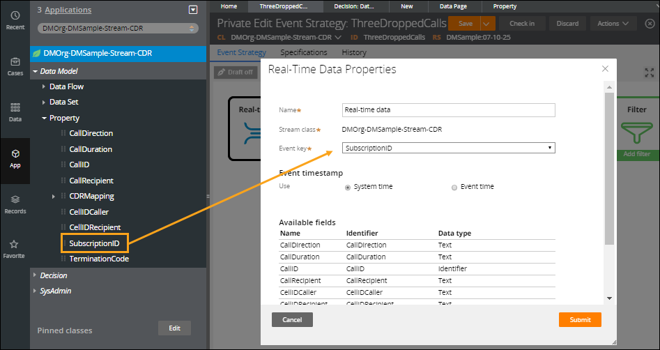 The Subscription ID property is referenced as the event key in an event                             strategy.