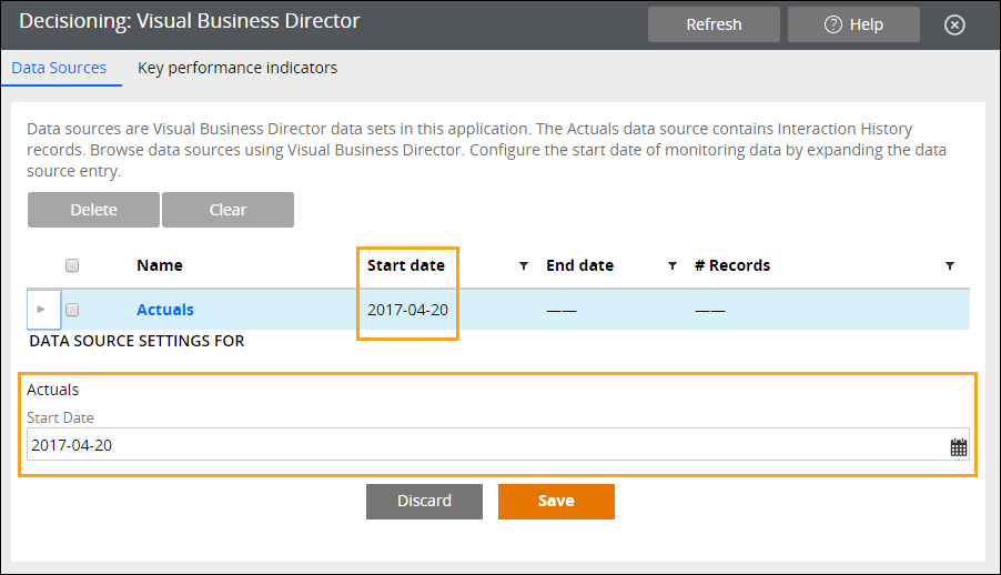 The Data Sources tab of the VBD landing page show                                                 the new start date for retrieving data from the                                                 Actuals data set.