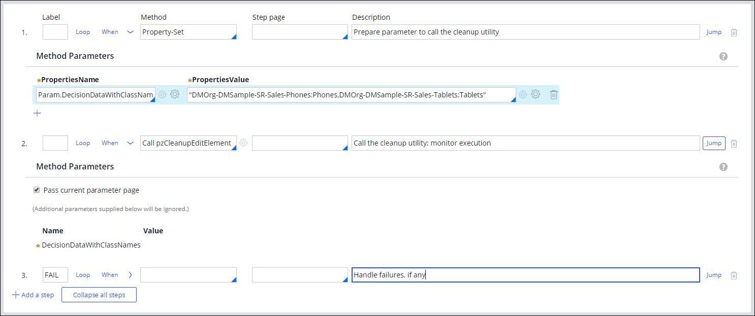 An activity form with a step that calls the pz cleanup edit element                                 utility.