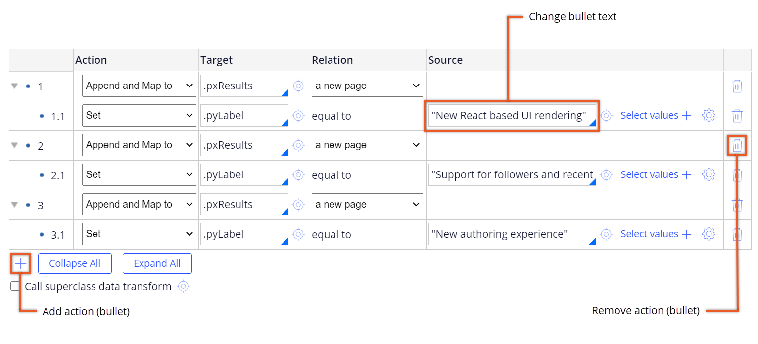 The pyInitAnnouncement data transform contains three                                         actions which add a new page to the .pxResults target, and                                         set the .pyLabel text.