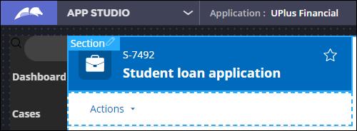 Sample case header for a Student loan application in design mode in                                 App Studio