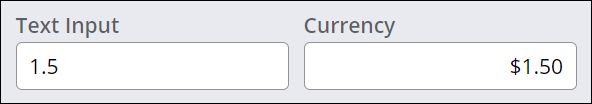 Simple string in a Text control and formatted price in the Currency control.