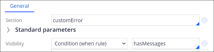 The section customError has Visibility set to Condition (when rule) -                             hasMessages.