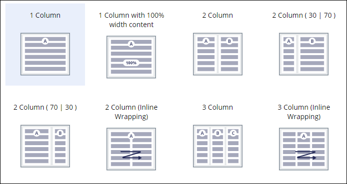 Sample design templates, including single column options and multiple column                 options with varying size ratios