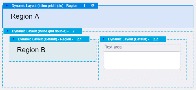 A design template with a text area and two regions