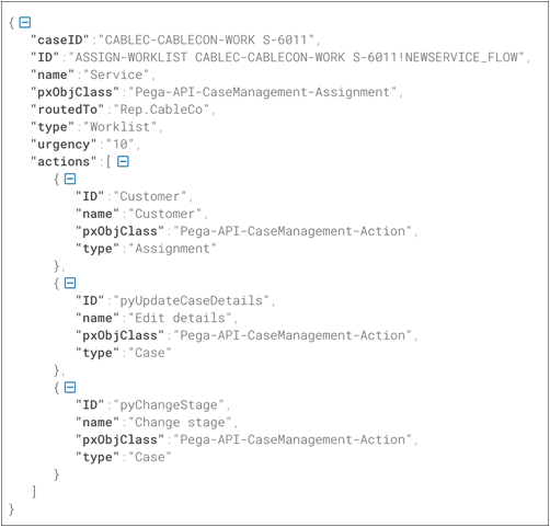 Sample DX API test response generated by the system