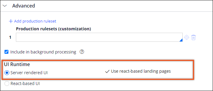 Application definition with Server rendered UI option                                 enabled.