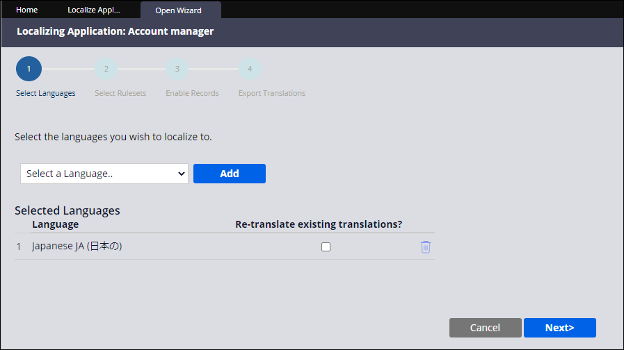 Language selection step in the localization wizard