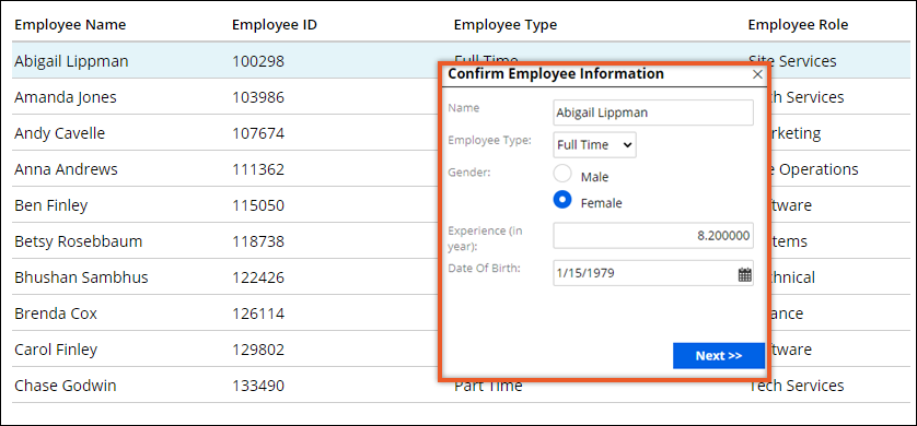 A table with employee data. The user can edit employee information in a modal dialog           box.