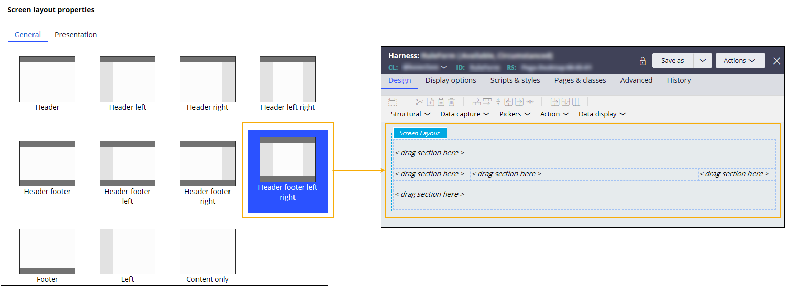 Harness based on a screen layout with a header, a footer, and margins on both           sides