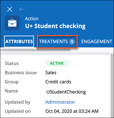 Treatments tab with an item count of 1