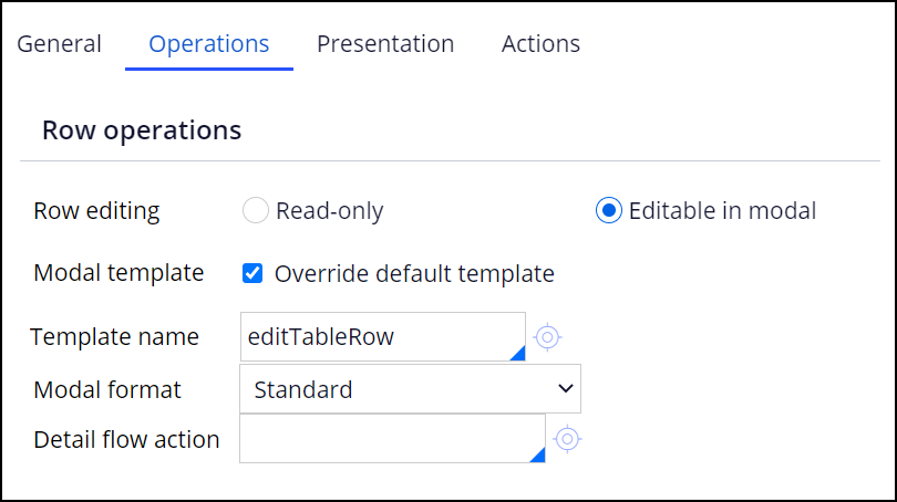 The Editable in modal and Override default template fields are selected. The             configuration uses a custom template named editTableRow.