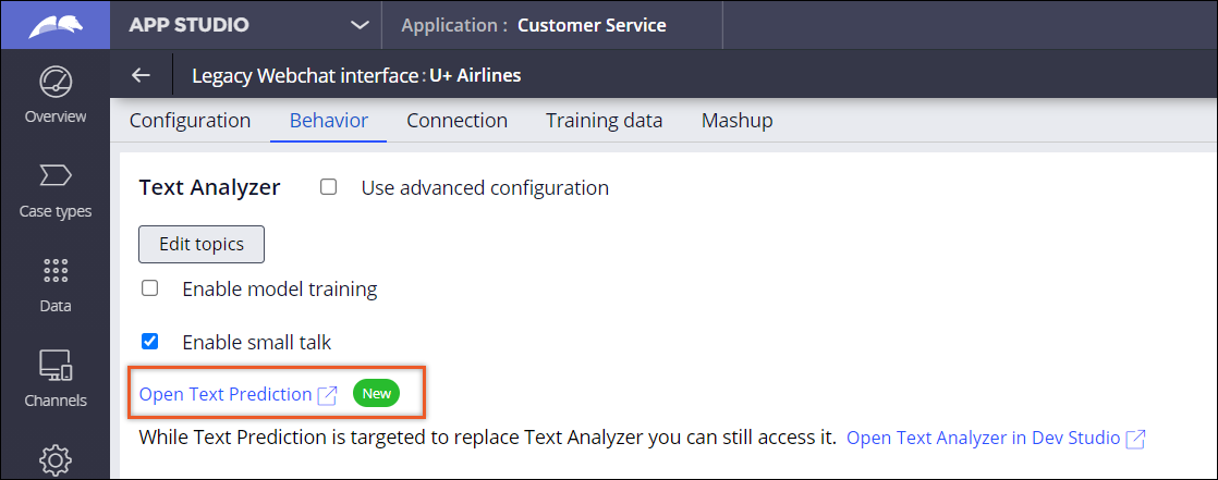 Open Text Prediction link on the Behavior tab in a channel