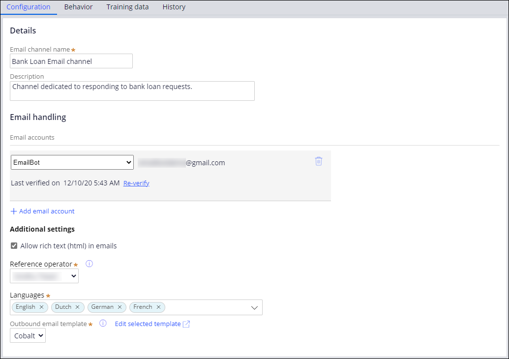 The configuration tab for email channels showing configuration of a bank                         loan request email.
