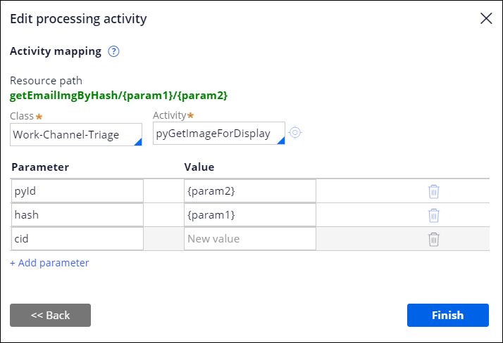 The GetEmailImgByHash activity mapping with three                                         parameters.