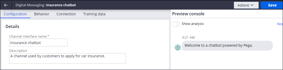 The configuration settings for a Digital Messaging                         channel on the Configuration tab.